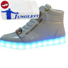 (Present:kleines Handtuch)Weiß EU 46, JUNGLEST® LED-Licht Schuhe Mode Herren Wechseln Sportschuhe Damen für Leuchtend Sneaker Laufschuhe Farbe mode Freizeitschuhe und Kind