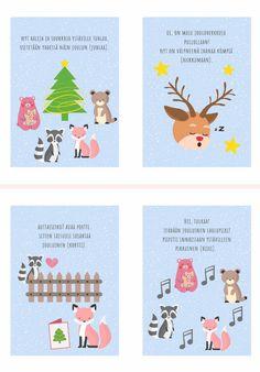 Kuura-ketun jouluiset riimittelykortit Preschool Christmas, Christmas Diy, Learn Finnish, Pre School, Kindergarten, Arts And Crafts, Clip Art, Printables, Teaching
