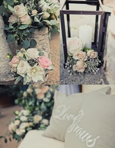 Florals in lanterns and birch <3 from http://spreadloveevents.com/blog/category/real-wedding/page/2/