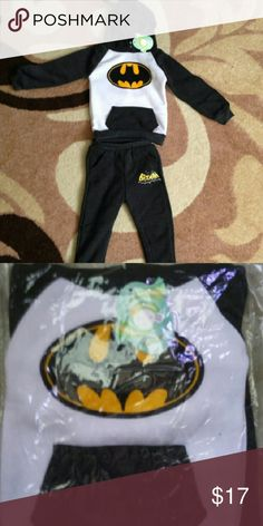 Nwt Batman Hooded Set Brand new. Batman Hoodie with pockets and matching  jogging  pants. Super warm and cute for the little one that loves batman.  Bundles welcome great discounts  No rude comments or you will be blocked Reasonable offers only Retail Chic  Matching Sets