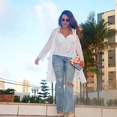 Look white, boho, jeans destroyed, colete, casual look
