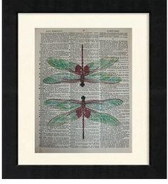 Dragonfly  ORIGINAL ARTWORK Mixed Media art print by sherryannshop, $10.00