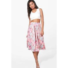 Boohoo Gia Tonal Summer Floral Box Pleat Skater Skirt ($36) ❤ liked on Polyvore featuring skirts, white midi skirt, pleated mini skirt, skater skirt, floral maxi skirt and flared midi skirt