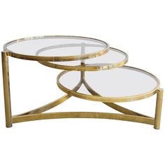 Superbe Milo Baughman Tri Level Brass And Glass Swivel Coffee Table | From A Unique  Collection Of