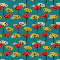 Retro Seed Heads fabric by rhubarbinthegarden on Spoonflower - custom fabric