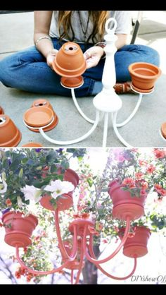 Chandelier Planter Bet it would be super cool with some solar lights in the planters with the plants too. Garden Crafts, Garden Projects, Diy Crafts, Backyard Projects, Chandelier Planter, Flower Chandelier, Outdoor Chandelier, Diy Chandelier, Chandelier Makeover