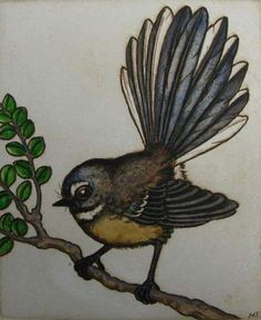 Mary Taylor Fantail bird etching art print NZ