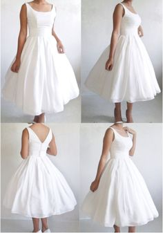 Elegance 50s -Boat neck dress in Ivory chiffon