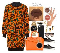 """""""Orange."""" by dopegenhope ❤ liked on Polyvore featuring Rolex, Giuseppe Zanotti, Moschino, Givenchy, LUMO, Michael Kors, CÉLINE, The Gold Gods and Joomi Lim"""