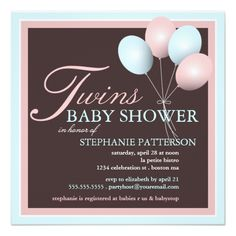 Elegant Child Balloon Twins Child Bathe Invitation. >>> See more at the image  Learn more at http://www.zazzle.com/elegant_baby_balloon_twins_baby_shower_invitation-161132487926893613?rf=238986102771821647