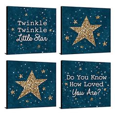 Twinkle Twinkle Little Star Nursery Decor 11 x 11 Kids Wall Art Baby Shower Gift Ideas Set of 4 Prints for Babys Room Baby Boy Room Decor, Baby Room Art, Baby Wall Art, Baby Boy Rooms, Art Wall Kids, Nursery Wall Art, Nursery Room, Church Nursery, Girl Decor