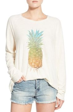 Wildfox 'Rainbow Pineapple' Raw Edge Pullover