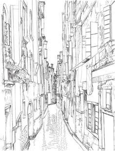 """""""Venice Coloring Book for Adults"""" is an original coloring book for adults and smart children. Relax, grab your pencils and color famous landmarks from the romantic city of Venice, Italy. Featuring beautiful detailed sketches of landmarks from Venic. Coloring Pages To Print, Colouring Pages, Coloring Books, Epic Drawings, Architecture Drawing Art, Flower Line Drawings, Venice Painting, Book Drawing, One Stroke Painting"""