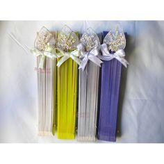 abanicos para bodas de colores con hojas corazón