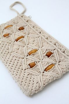 SALE vintage macrame clutch by 86Vintage86 on Etsy