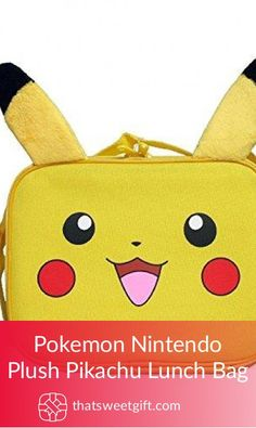 Pokemon Nintendo Plush Pikachu Lunch Bag Pokemon Gifts, Sleepover, Punch, Pikachu, Nintendo, Lunch Box, Gift Ideas, Tote Bag, Amazon