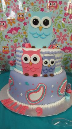 Owl spa birthday party cake! See more party planning ideas at CatchMyParty.com!