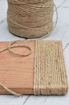 Update a thrift store footstool using jute twine.an easy DIY project for anyone who loves a rustic look.anderson + grant: Rustic DIY Footstool {Before & After}Use jute twine from the craft store to update a wood footstool from the thrift store. Twine Crafts, Rope Crafts, Diy Home Crafts, Painted Rug, Painted Furniture, Diy Furniture, Diy Footstool, Diy Para A Casa, Organization Hacks