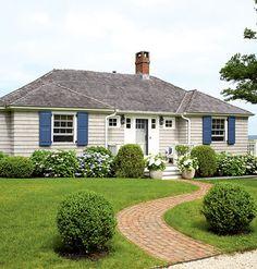 Beige House Blue Shutters Home Ideas Pinterest