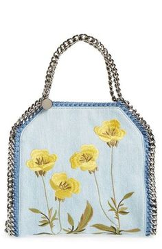 Stella McCartney 'Mini Falabella - Poppy' Embroidered Denim Tote available at #Nordstrom