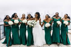 Bella - bespoke and her mesmerising bridesmaids in our bespoke BELLA gowns in green. Emerald Green Bridesmaid Dresses, African Bridesmaid Dresses, Emerald Green Weddings, Wedding Bridesmaid Dresses, Green Bridesmaids, Green And Burgundy Wedding, Green Gown, Wedding Colors, Wedding Ideas