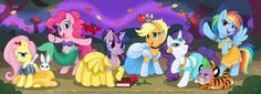 My Little Pony: Friendship Is Magic as Disney Princesses. What's not to love?