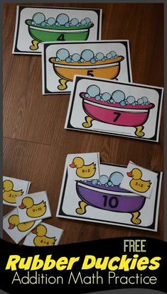 FREE Rubber Duckies Addition Math Practice - this is such a fun free printable activity for kindergarten and first grade kids to practice addition to 10 and make This is great for summer learning, math center, and educational learning activity Fun Math Games, Preschool Math, Math Classroom, Kindergarten Activities, Kindergarten Freebies, First Grade Addition, Math Addition, Kindergarten Addition, Subtraction Kindergarten