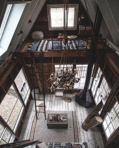 via heavywait - modern design architecture interior design home decor & A Frame Cabin, A Frame House, Tree House Designs, Tiny House Design, Design Loft, Modern Design, Cabin Interiors, Cabin Homes, Log Homes