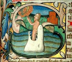 stained glass jonah | Jonah and the big fish from the Antiphoner