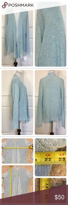 NWT! Eileen Fisher linen open front cardigan Beautiful blue open front linen cardigan from Eileen Fisher.  Waterfall front. Inside of cardigan has small - Kind of snag - can't see from outside of sweater. Just wanted to point it out. New with tags from secondary market store. Eileen Fisher Sweaters Cardigans