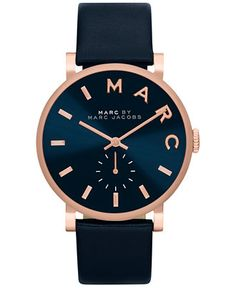 Marc by Marc Jacobs Women's Baker Navy Leather Strap Watch 36mm MBM1329 - Watches - Jewelry & Watches - Macy's
