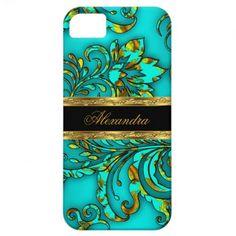 iPhone 5 Elegant Teal Gold Black Floral Damask iPhone 5 Cover
