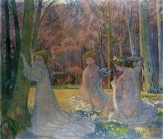 Figures in a Spring Landscape (Sacred Grove) is a Symbolist Oil on Canvas Painting created by Maurice Denis in It lives at the State Hermitage Museum in Russia. The image is in the Public Domain, and tagged The Nude in Art, Women and Trees. Maurice Denis, Pierre Bonnard, Edouard Vuillard, Post Impressionism, Impressionist Art, Felix Vallotton, Art Occidental, Sacred Groves, Art Français