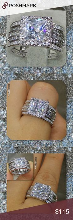 JUST IN5pc AAAA CZ & Topaz 925 Silver Ring Set New 5pc AAAA CZ 925 Silver 3ct Princess Cut Wedding Set Material: 925 silver  (stamp S925) 