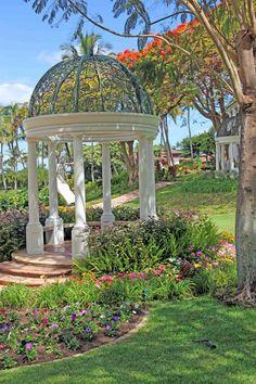 The gazebos at Grand Wailea Resort & Spa on Maui.  How romantic!   ASPEN CREEK TRAVEL - karen@aspencreektravel.com