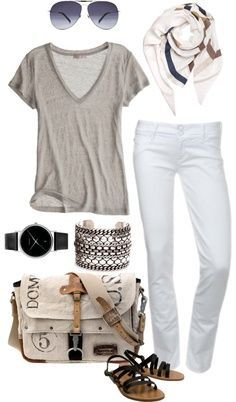 Gray v neck White Capri or shorts Black/grey sandals Scarf