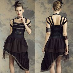 Black Halter High Low Steampunk Steam Punk Fashion Dresses Women SKU-11402766
