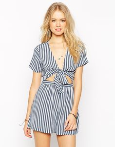 ASOS Playsuit in Stripe with Cutout Tie Front