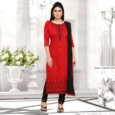 e3e18ae900 Buy Craftsvilla Red And Black Cotton Embroidered Un-stitched Dress Material  online. ✯ 100