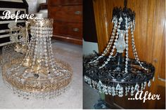 Old (and kitsch) candelier painted in a sober black colour, and lighter with crystals