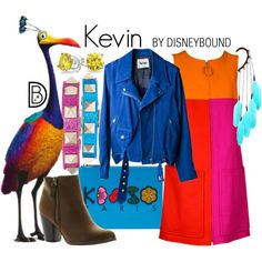 Kevin // colorblock dress / blue jacket/cardigan / feather accents / rainbow accents / brown shoes