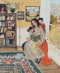 Family Illustration, Illustration Art, Happy Easter Sunday, Reading Art, Gouache Painting, Whimsical Art, Cute Art, Collages, Folk Art