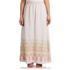 Johnny Was, Sizes 14-24 Evan Linen Maxi Skirt (305 CAD) ❤ liked on Polyvore