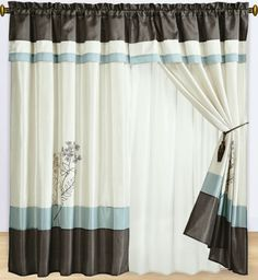 ortland Blue Curtains with Attached Valance - $34.99 : Shop Duvet ... Portland Blue Curtains with