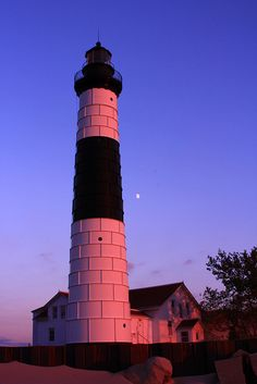 Lighthouse Big Sable Pointe, Lake Michigan at Sunset. State Of Michigan, Lake Michigan, Mason Michigan, Michigan Travel, Mason County, Lighthouse Lighting, Beacon Of Light, Great Lakes, Places To Go