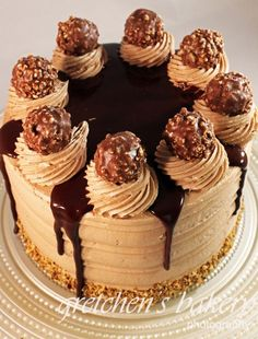 Ferrero Rocher Truffle Cake from Gretchen's Bakery Torta Ferrero Rocher, Ferro Rocher Cake, Ferrero Rocher Cheesecake, Super Torte, Delicious Desserts, Dessert Recipes, Layer Cake Recipes, Nutella Cake, Nutella Birthday Cake