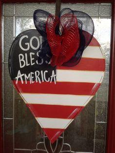 Patriot heart door hanger original design by by samthecrafter, $37.00 Burlap Art, Burlap Crafts, Wooden Crafts, Decor Crafts, Patriotic Crafts, Patriotic Wreath, Patriotic Decorations, Wooden Door Signs, Wooden Door Hangers