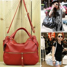 Korean Style Tassel PU Leather Lounge Shoulder Bag with Short/ Long Straps for Lady Girl Woman ($42.29)