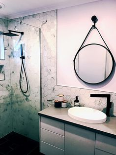Meir Black Bathroom, round black mirror