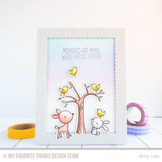 Sweet Forest Friends, Sweet Forest Friends Die-namics, Whimsical Woodgrain Background, Stitched Mini Scallop Rectangle STAX Die-namics - Amy Lee   #mftstamps
